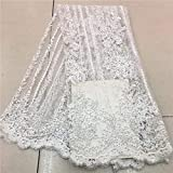 Laliva French Nigerian Laces Fabrics Tulle African Laces Fabric Wedding African French Tulle Lace - (Color: As Picture)