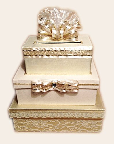 Gold Wedding Card Box, Card Holder, 3 Tier Stacked, Lace, Handmade, allthebestcardboxes