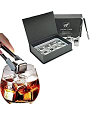 Whiskey Stones Set,Reusable Ice Cubes,Stainless Steel,8Pcs Metal Chilling Stones with Ice Tongs and Storage Tray,Fathers Day Gift