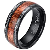 Mens Womens 8mm Black Tungsten Carbide Ring Wedding Engagement Band Grain Lasered Edges KOA Wood Inlay Comfort Fit (9.5)