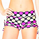 Bitsy Bottom Girls Yoga Shorts, Dance Shorts, Gymnastics Shorts, Cheer Shorts, Volleyball Shorts, Swim Shorts, Bathing Suit Shorts (Large 10/12, Connect The Dots)