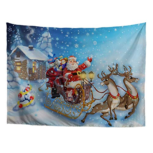HUGS IDEA Vintage Wall Hanging Festival Tapestry Santa Claus Sending Gifts with Reindeers from Door to Door Prints Wall Blankets for Home Decor