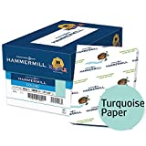 Hammermill Colored Paper, Turquoise Printer Paper, 20lb, 8.5x11 Paper, Letter Size, 5000 Sheets / 10 Ream Case, Pastel Paper, Colorful Paper (103820C)