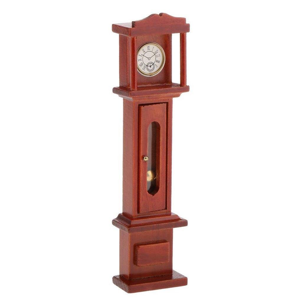 Nrpfell 1:12 Horloge de parquet en Bois Miniature Vintage de Salon de Maison de Poupee Marron