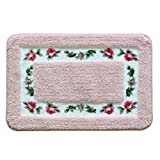 Sytian® Decorative Super Soft Floral Design Rural Style Pretty Rose Pattern Non Slip Absorbent Shaggy Area Rug Carpet Doormat Floormat Bath Mat Bathroom Shower Rug (15.75 * 23.62 Inch) (Pink)