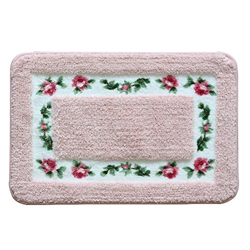 Sytian® Decorative Super Soft Floral Design Rural Style Pretty Rose Pattern Non Slip Absorbent Shaggy Area Rug Carpet Doormat Floormat Bath Mat Bathroom Shower Rug (15.75*23.62 Inch) (Pink) ()