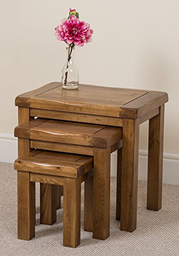 Cotswold Rustic Solid Oak Nest Of Tables Living Room Furniture, (36 x 59 x 49 cm)