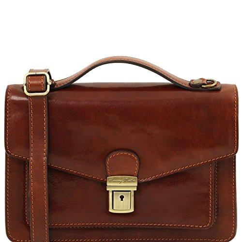 Tuscany Leather Eric - Bolso para hombre en piel - TL141443 (Marrón oscuro) Marrón