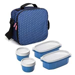 Tatay Urban Food Dots Bolsa térmica Porta Alimentos con herméticos incluidos, Tela, Azul, 22.5 x 10 x 22 cm