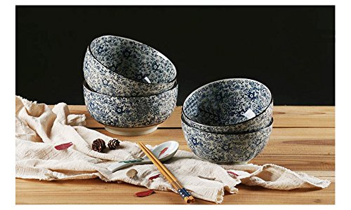 "Japanese X-Large Sometsuke Ceramic Ramen/Pho Noodle Soup Bowl Set│6.6"" in Diameter│3.3"" in Height - Set of 4"