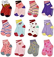 Toddler Non Slip Grip Socks Kids 12-Pack Anti Skid Sticky Crew Socks With Grips For Baby Infant 1-7 Years Chil