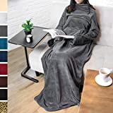 Premium Fleece Blanket with Sleeves by Pavilia | Warm, Cozy, Extra Soft, Functional, Lightweight (Charcoal, Regular Pocket)