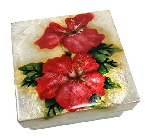 (Kubla Craft Red Hibiscus Capiz Shell Keepsake Box, 4 Inches Square)
