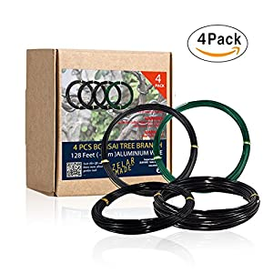 ZELAR MADE Bonsai Training Wire Set of 4 - Total 128 Feet(32 Feet Each Size) 3 Size - 1.0MM,1.5MM,2.0MM - Corrosion and Rust Resistant by