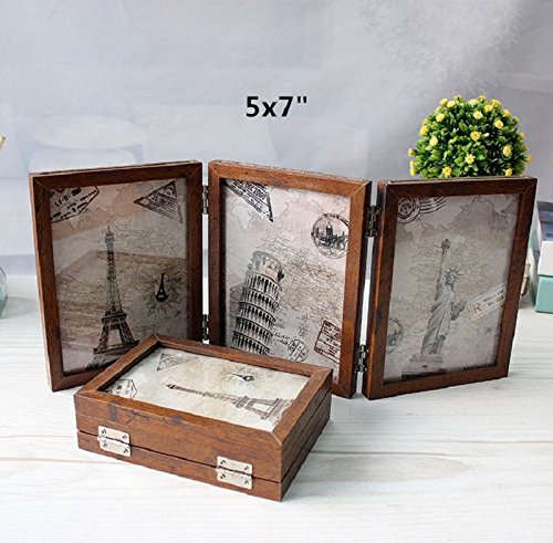 leoyoubei 3-Opening Hinged Collage Frame, 6 photos show double-sided photo frame silver-color Hinges, Folding Photo Frame With Glass Front(5X7 Brown) by leoyoubei