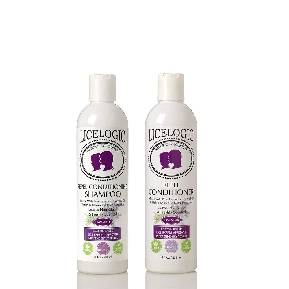 LiceLogic Lice Prevention Shampoo and Conditioner | Non Toxic Treatment Kit Safe for Daily Use | Repels Super Lice, Eggs and Nits Naturally with No Harsh Chemicals | 8 oz Lavender by LiceLogic