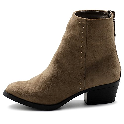 TWB01010 Shoes Boots Taupe Ollio Leather Faux Women's Faux Stud Stacked Suede Ankle Heel PwvpZ15xqn