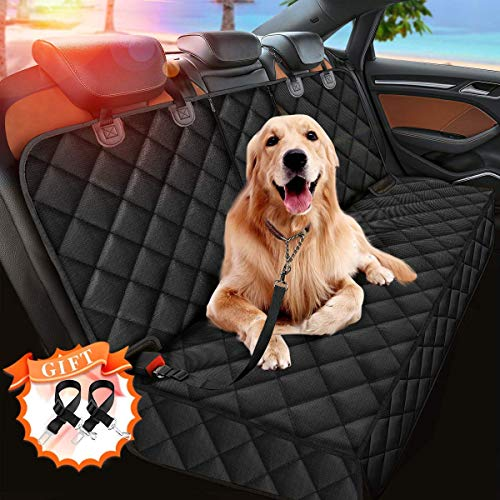 Upgraded Dog Car Seat Cover for Pets, 100% Waterproof Pet Dog Seat Cover Nonslip Bench Seat Covers Armrest Compatible for Back Seat Universal Size for Cars, Pickup Trucks, SUVs (2 Pet Seat Belts Gift)