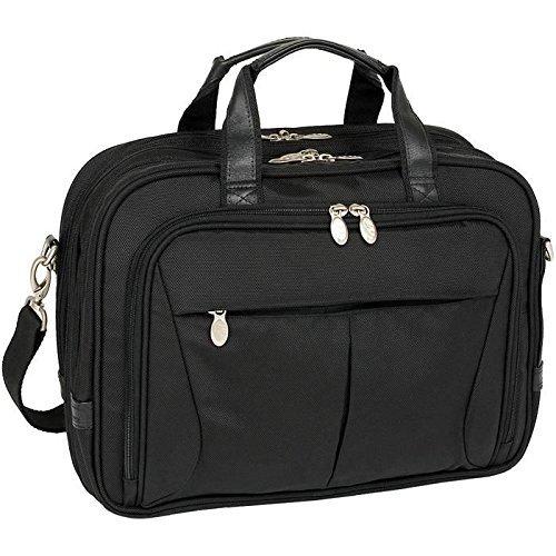 MCKLEIN PEARSON 74565 Black Expandable Double Compartment Briefcase Bag