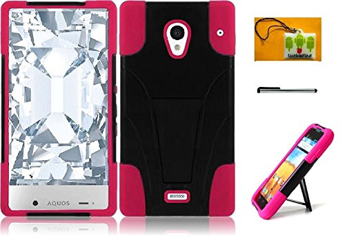 LF 3 in 1 Bundle - Hybridy Dual Layer Case with Stand, Lf Stylus Pen & Droid Wiper Accessory for (Sprint) Sharp Aquos Crystal (Stand Pink) (Sharp Aquos Crystal Keyboard compare prices)