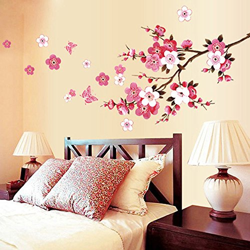 WOCACHI Wall Stickers Decals Room Peach Blossom Flower Butterfly Wall Stickers Vinyl Art Decals Decor Mural Art Mural Wallpaper Peel & Stick Removable Room Decoration Nursery Decor