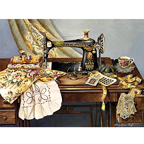 Diamond Painting Kits Sewing Machine - HuaCan DIY 5D Crystal Rhinestone Embroidery Pictures Arts Craft Sewing Machine 30x40cm 11.81x15.75in Full Square - Sewing Diamond Machine