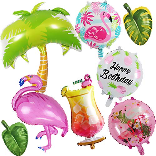 Gosear Balloons, Hawaii Party Balloons 8pcs Hawaiian Style Flamingo Palm Tree Decorations Foil Balloons for Summer Beach Hawaii Luau Party Supplies]()