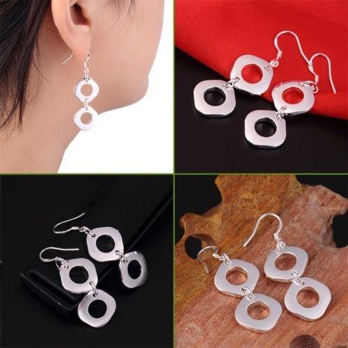 Alicenter(TM) Women 925 Sterling Silver Geometry Square Dangle Earrings Charm Jewelry (Button Earrings Dangling)
