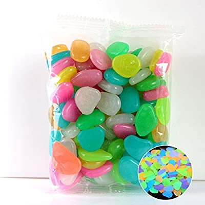 twbbt 100/50PCS Colour Round Decorative Glow Glass Pebbles/Stones/Beads/Nuggets by The Glass Pebble Shop : Garden & Outdoor