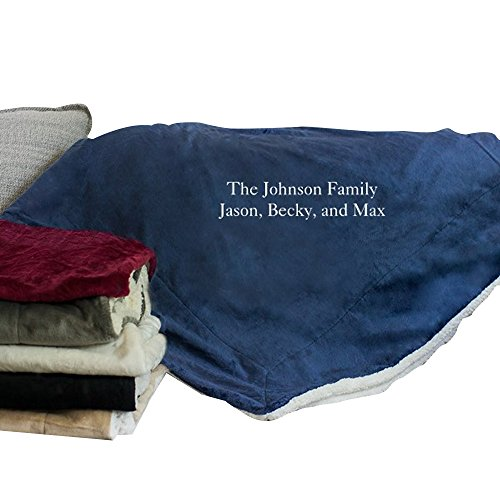 GiftsForYouNow Embroidered Any Message Personalized Sherpa Throw Blanket, Navy
