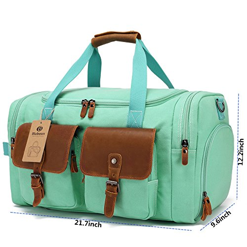 BLUBOON Weekender Duffle Bag Canvas Overnight Travel Duffel with Shoe Compartment for Women Leather Carry on Luggage Travel Tote Bag (Mint Green) by BLUBOON (Image #3)