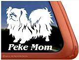 Peke Mom ~ Pekingese Dog Vinyl Window Decal Sticker