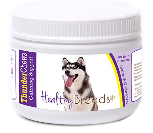 Healthy Breeds Dog ThunderChews Calming Support for Siberian Husky - Over 200 Breeds - Gluten & Grain Free - Natural Ingredients - 60 Soft ()