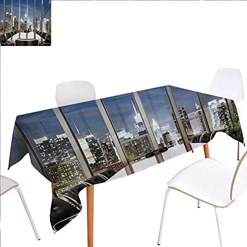 familytaste Modern Patterned Tablecloth Business Office Conference Room Table Chairs City View at Dusk Realistic Photo Dust-Proof Oblong Tablecloth 70