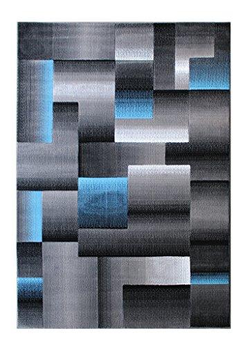Masada Rugs, Modern Contemporary Area Rug, Blue Grey Black (6 Feet X 9 Feet, - Checker Area Rug