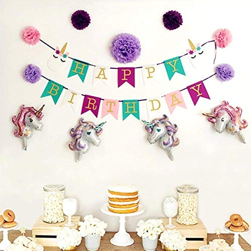 - K.A. Jones Unicorn Party Banner – Adorable 13 Piece set- Including an adorable unicorn headband with a reusable Happy Birthday banner