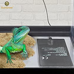 SunGrow Reptile Tank Heater Pad - Helps Achieve Appropriate Tank's Temperature Level - 24-Hour Under Tank Terrarium Heating Mat