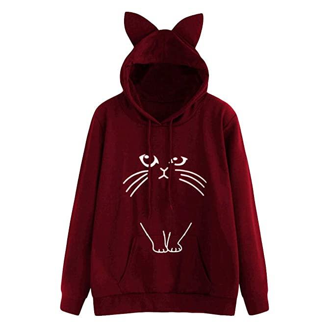 Outtop(TM) Womens Cat Print Cute Hoodie Sweatshirt Hooded Pullover Tops Blouse at Amazon Womens Clothing store: