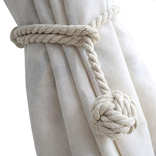 Melaluxe 4 Pack Curtain Tiebacks - Natural Cotton Curtain Rope Tieback, Handmade Rural Decorative Curtain Holdbacks (Beige) (Curtain Tie Backs Rod)