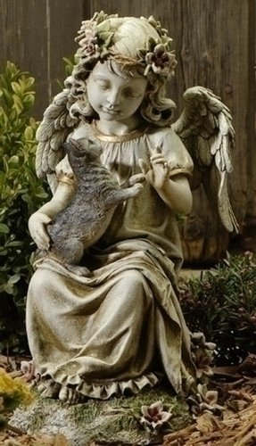 "16"" Joseph's Studio Angel With Kitten Outdoor Garden Statue"