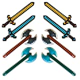 "megasumer 8 Pack - Inflatable 37"" Jumbo Mine Pixel Craft Swords, and Axes (4 Designs, 2 of Each)"