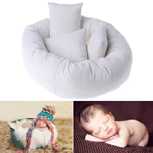Newborn Baby Photography Posing Pillow Filler Photo Prop (1pc Donut + 3pcs Pillow, basket not included) by Anjoy (Image #3)