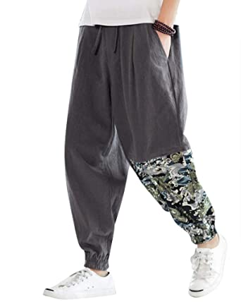 Pantalones De Lino para Hombres Holgado Talla Grande Pantalón ...