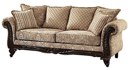 - Homelegance 8233FA-3 Thibodaux Floral Sofa, Brown