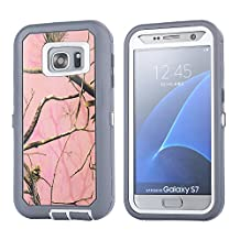 MOONCASE Galaxy S7 Edge Case, [Realtree Camo Series] 3 Layers Heavy Duty Defender Hybrid Soft TPU +PC Bumper Triple Shockproof Drop Resistance Protective Case Cover for Samsung Galaxy S7 Edge -Pink Tree