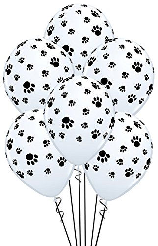 Qualatex Paw Prints-A-Round Biodegradable Latex Balloons, White with Black paw prints All-Around, 11-Inch -