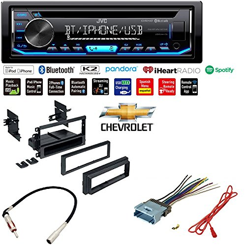 - JVC KD-RD79BT 1-Din Car CD Receiver Stereo w/Bluetooth/USB/AUX/Pandora/iPhone Dash Install Kit Wire Harness Radio Antenna for Buick Cadillac Chevrolet GMC Hummer Isuzu Oldsmobile Pontiac 2002-2012