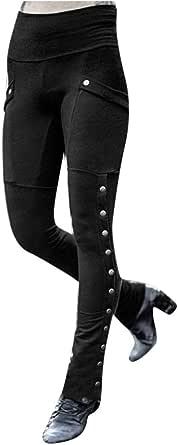Buyaole Pantalones Mujer Casual,Pantalones Casuales De BotóN Sexy De Moda para Mujer Leggings Largos De PantalóN Largos De Milicia