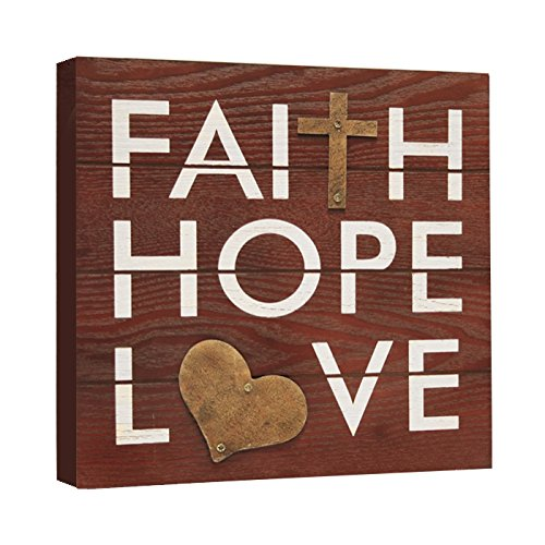 Haven Faith, Hope and Love Rustic Plaque, 8-Inch by 8-Inch