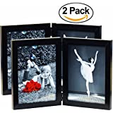 "(2-Pack) 5x7 Inch Hinged Dual Picture Wood Photo Frames with Glass Front - Made to Display Two 5""x7"" Inch Collage Pictures, Double Frame Stands Vertically on Desktop or Table Top"